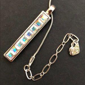 Swarovski necklace. Aurora borealis crystals.